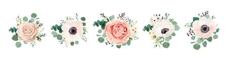 Illustration pour Vector floral bouquet design: garden pink peach lavender creamy powder pale Rose wax flower, anemone Eucalyptus branch greenery leaves berry. Wedding vector invite card Watercolor designer element set - image libre de droit