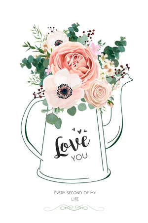 Illustration for Floral elegant card vector Design: Rose peach flower white wax, Anemone green Eucalyptus greenery berry bouquet in line hand drawn kettle vase illustration. Elegant rustic Wedding invite love you text - Royalty Free Image