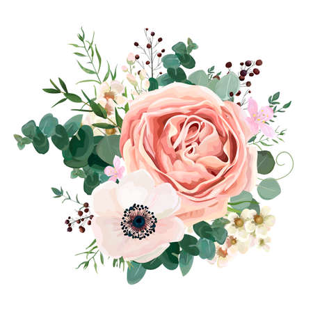 Ilustración de Floral card vector Design: garden flower lavender pink peach Rose white Anemone wax green Eucalyptus thyme leaves elegant greenery, berry, forest bouquet print.Wedding rustic Invitation elegant invite. - Imagen libre de derechos