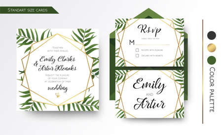 Illustration pour Wedding Invitation, save the date, rsvp invite card Design with green tropical forest palm tree leaves, forest  greenery simple, geometric golden border hexagonal foil print. Vector floral copy space template set  - image libre de droit