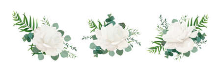 Illustration for Vector floral bouquet set of garden white powder peony, Rose flower, Eucalyptus branch greenery palm leaves and green herbs mix. Watercolor elegant designer elements for design. Isolated and editable  - Royalty Free Image