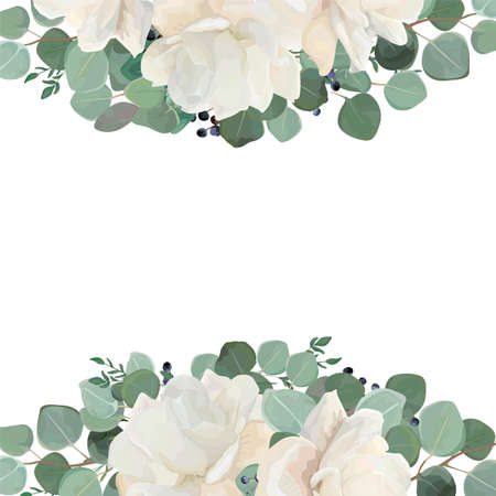 Illustration pour Floral card design with garden white, creamy peony, Rose flower, silver Eucalyptus thyme green leaves elegant greenery blueberry bouquet border, frame. Vector watercolor style elegant greenery layout. - image libre de droit