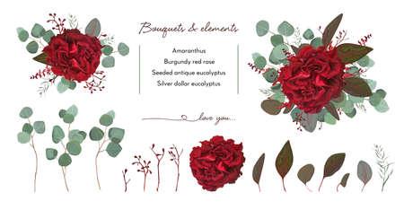 Illustration pour Vector floral bouquet design with: garden red burgundy Rose flower, seeded Eucalyptus branch - image libre de droit