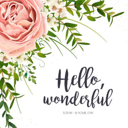 Illustration for Vector card floral design: purple pink garden rose flower, green watercolor eucalyptus greenery leaves, plants, herbs bouquet frame. Elegant, romantic greeting, invitation, postcard. Text space layout - Royalty Free Image