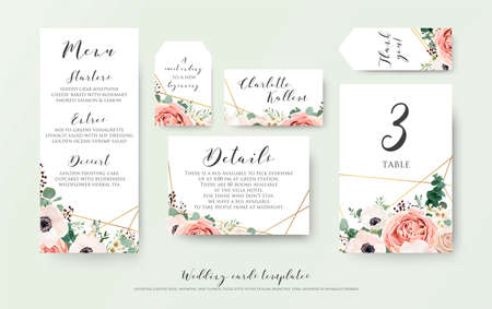Ilustración de Wedding menu, information, label, table number and place card design with elegant lavender pink garden rose, anemone, wax flowers eucalyptus branches, leaves & cute golden pattern. Vector template set - Imagen libre de derechos