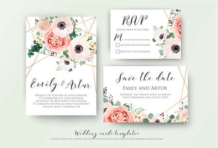 Foto de Wedding invite, invitation, rsvp, save the date card design with elegant lavender pink garden rose anemone, wax flowers eucalyptus branches leaves, cute golden geometrical pattern. Vector template set - Imagen libre de derechos
