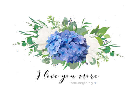 Illustration for Vector floral card with tender bouquet of blue hydrangea flower, white garden roses, poppies, eucalyptus, lilac flowers, greenery plants, leaves and berries. Elegant, delicate editable template - Royalty Free Image