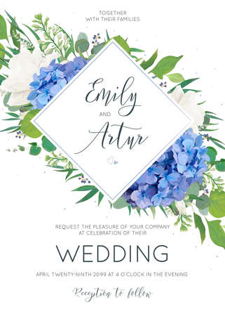Illustration for Elegant wedding invitation with watercolor art style floral designs. - Royalty Free Image