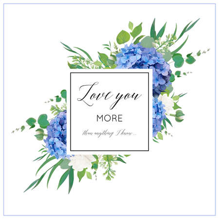 Illustration pour Vector floral card with elegant bouquet of blue hydrangea flowers, white garden roses, green eucalyptus, lilac branches, greenery leaves berries & square copy space. Wedding invite, greeting - image libre de droit