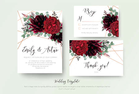Illustration pour Wedding invite invitation, rsvp, thank you card floral design. Red rose flower, burgundy dahlia, eucalyptus silver dollar branches, berries wreath with rosy copper geometrical decoration. Bohemian set  - image libre de droit