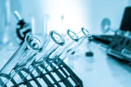 Foto de Test tubes closeup  medical glassware - Imagen libre de derechos