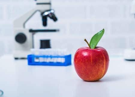 Foto de Chemical Laboratory of the Food supply.Food in laboratory, dna modify - Imagen libre de derechos