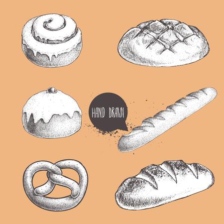 Illustration for Vintage hand drawn sketch fresh style bakery set. Bread, iced bun, cinnamon iced bun, baguette, german pretzel and bread loaf. - Royalty Free Image