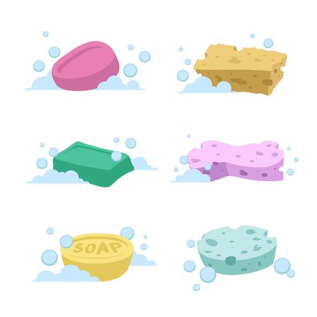 Illustration pour Trendy cartoon style bath and health care set. Different colors soaps and spoonges with bubbles. - image libre de droit