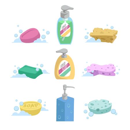 Illustration pour Cartoon clean bath set. Shampoo and liquid soap with dispenser, soap and colorful spoonges. Trendy stylized vector icon collection. - image libre de droit