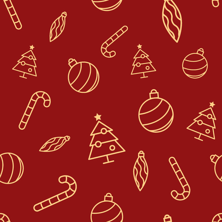 Illustration for Christmas seamless red pattern with simple yellow icons. Ornament ball, ornament icicle, xmas tree and candy cane. - Royalty Free Image