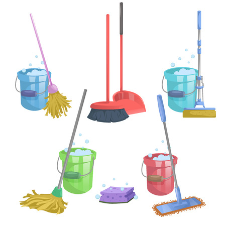 Illustration pour Cartoon house and apartment cleaning service icon set. Mops with bucket with washing liquid.  Modern plastic dry mop old mop, squeeze mop, dustpan, dust brush. - image libre de droit