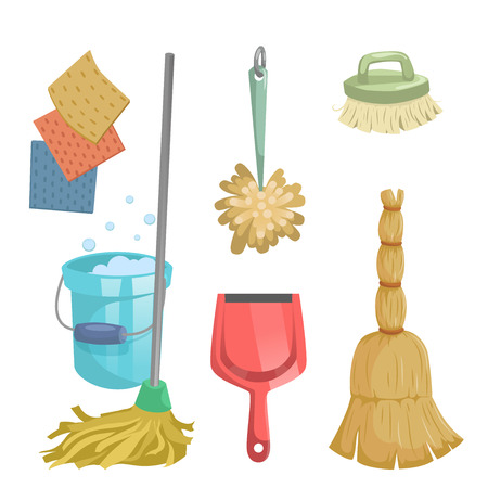 Illustration pour Cartoon trendy cleaning service icons set. Natural broom, red dustpan, mop, dust feather and clothes. - image libre de droit