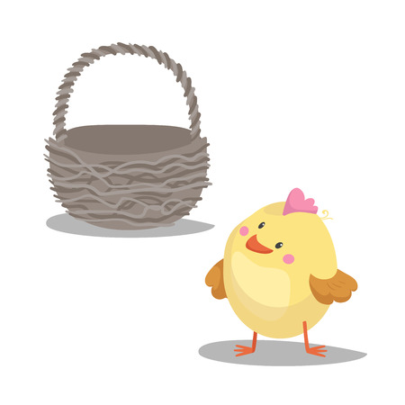 Illustration pour Cartoon cute boy chick looking on empty basket. Easter icon symbol. Vector illustration. - image libre de droit