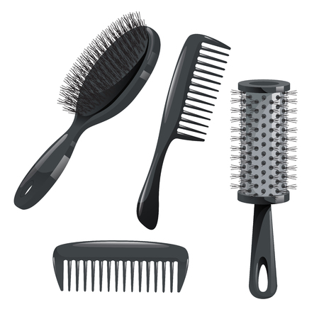 Ilustración de Trendy design haircare icons set. Metal and plastic comb, cylinder and brush professional black hair styling accessories tools. Vector illustration. - Imagen libre de derechos
