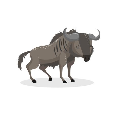 Illustration pour Cartoon trendy design wildebeest standing. African wildlife animal isolated on white background. Vector gnu illustration. - image libre de droit