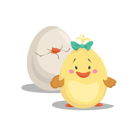 Illustration pour Chicken new born girl with green bow staying front hatched egg. Cartoon flat trendy design spring and new born baby vector illustration. - image libre de droit