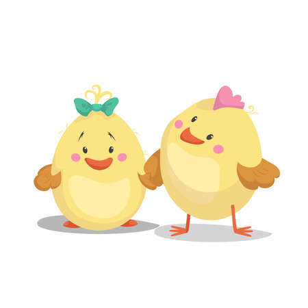 Illustration pour Chicken new born boy and girl chick. Cartoon flat trendy design spring and new born baby vector illustration. - image libre de droit