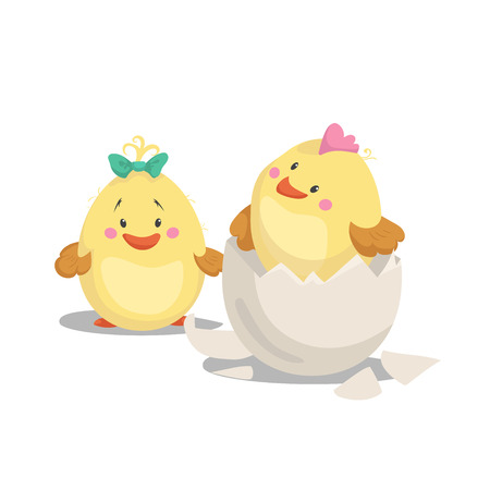 Illustration pour Chicken new born boy with crest in hatched egg and girl chick with green bow. Cartoon flat trendy design spring and new born baby vector illustration. - image libre de droit