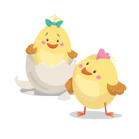 Illustration pour Chicken new born boy and girl chick  in hatched egg. Cartoon flat trendy design spring and new born baby vector illustration. - image libre de droit