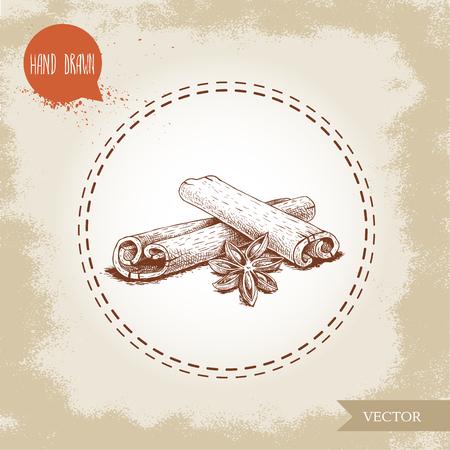 Ilustración de Hand drawn sketch style cinnamon sticks and anise composition isolated on vintage background. Vector healthy spice and condiment illustration. - Imagen libre de derechos