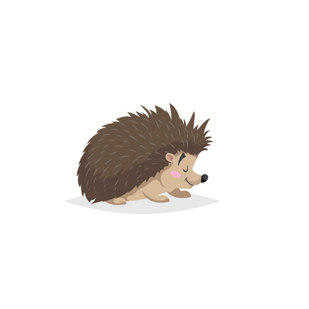 Ilustración de Cartoon cheerful standing hedgehog. Forest Europe and North America animal. Flat with simple gradients trendy design. Education vector illustration. - Imagen libre de derechos