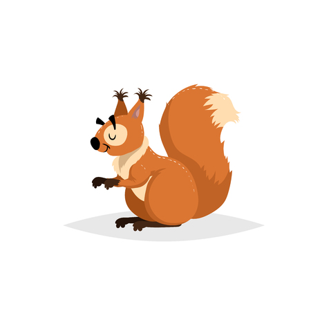 Illustrazione per Cartoon cheerful fluffy squirrel. Forest Europe and North America animal. Flat with simple gradients trendy design. Education vector illustration. - Immagini Royalty Free