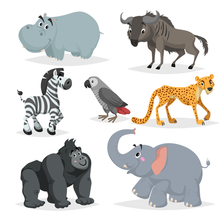 Illustration pour African animals cartoon set. Hippo, gorilla monkey, gray parrot, elephant, cheetah, zebra and wildebeest. Zoo wildlife collection. Vector illustrations isolated on white background. - image libre de droit