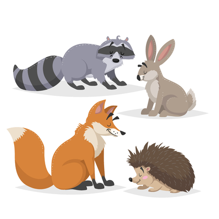 Illustration pour Forest animals set. Raccoon, hare, hedgehog and red fox. Happy smiling and cheerful characters. Vector zoo illustrations isolated on white background. - image libre de droit