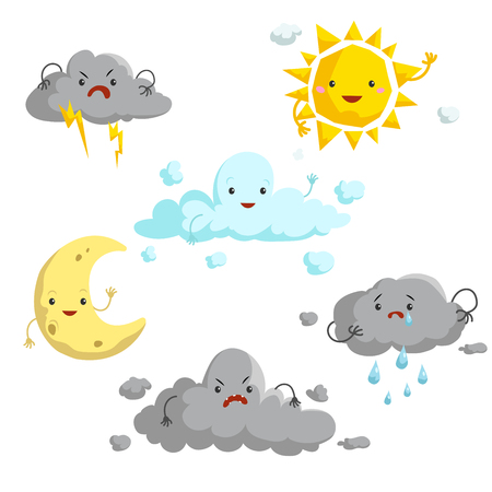 Ilustración de Cartoon weather mascots set. Comic anime style characters. Sun, clouds, rain, crescent, thunderstorm. Vector illustrations isolated on white background. - Imagen libre de derechos