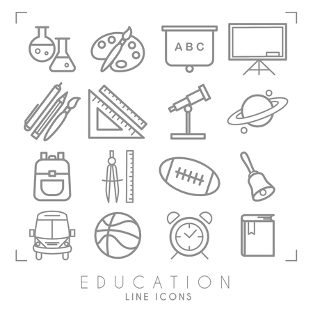 Illustration pour Outline thin black and white icons set. Education collection. Chemisrty, physics, mathematics, geography, astronomy, sport games and paint equipment, school bus and alarm clock. Vector objects and symbols. - image libre de droit