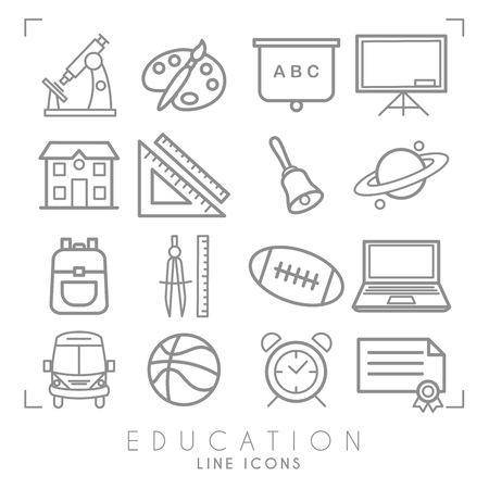 Illustration pour Outline thin black and white icons set. Education collection. Mathematics,  astronomy, sport games, computer and paint equipment, school bus, school building and alarm clock. Vector objects and symbols. - image libre de droit