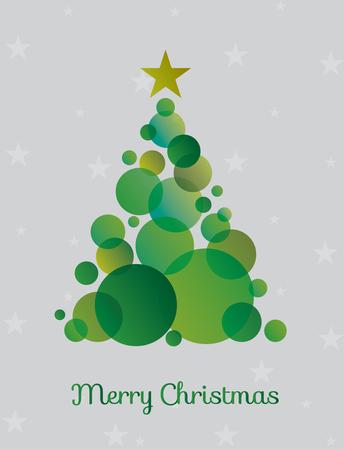 Ilustración de Christmas tree made green circles surrounded by stars. Vector illustration - Imagen libre de derechos