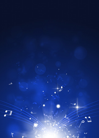 Photo for abstract blue background with music notes and blurry lights - Royalty Free Image