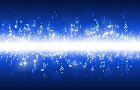 Photo pour abstract music notes on dark blue background - image libre de droit