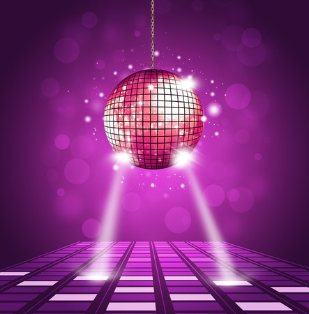 Photo for disco ball and floor background with equalizer and music waves - Royalty Free Image
