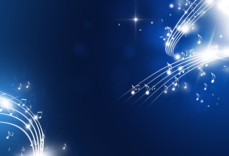 Photo for music notes with lights and bokeh blue background - Royalty Free Image