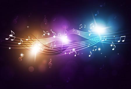 Photo pour music notes and blurry lights on bright multicolor background - image libre de droit