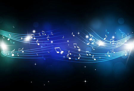 Photo pour abstract music notes and blurry lights on dark blue background - image libre de droit