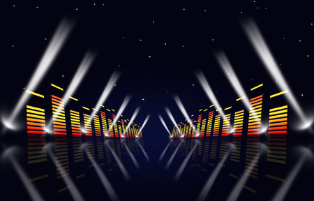 Photo for multicolor music background with equalizer and spotlights for fame events - Royalty Free Image