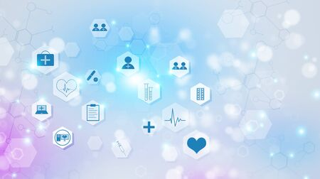 Photo for abstract technology and science medical multicolor illustration with icons - Royalty Free Image