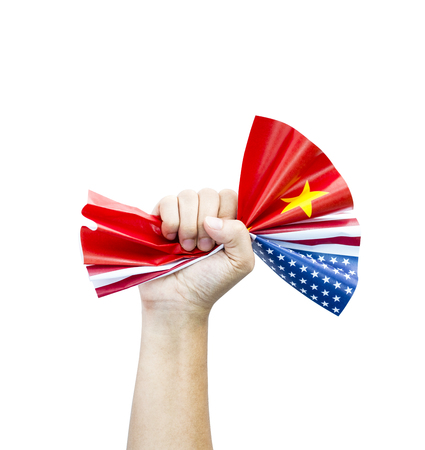Photo pour Fist crumpled USA and China flags on white background.United States of America versus China trade war disputes concept. - Image - image libre de droit