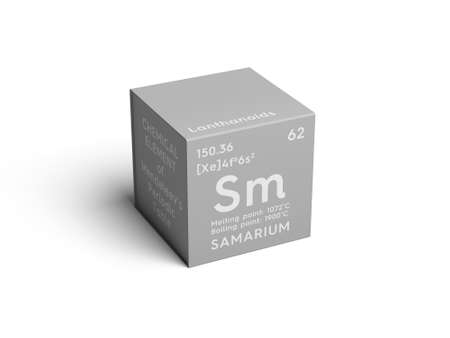 Foto de Samarium. Lanthanoids. Chemical Element of Mendeleev's Periodic Table. Samarium in a square cube creative concept. - Imagen libre de derechos