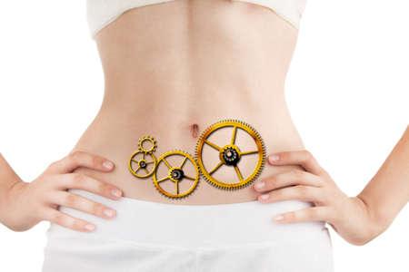 Foto de Slim Body of Young Woman with Perfect Healthy Digestive Tract Work. White Background. - Imagen libre de derechos