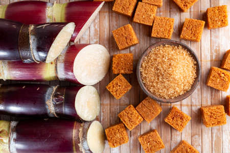 Photo for Sugarcane and sugarcane, panela and sugar cane derivatives, image - Royalty Free Image